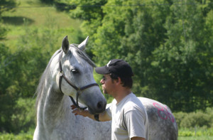 Rich and Sarge several years ago during their first season of AERC competition -- photo by Kate Rogers, Sweet Meadow Arts